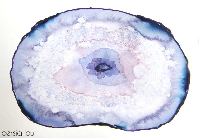 700x487 How To Paint Watercolor Agate Slices