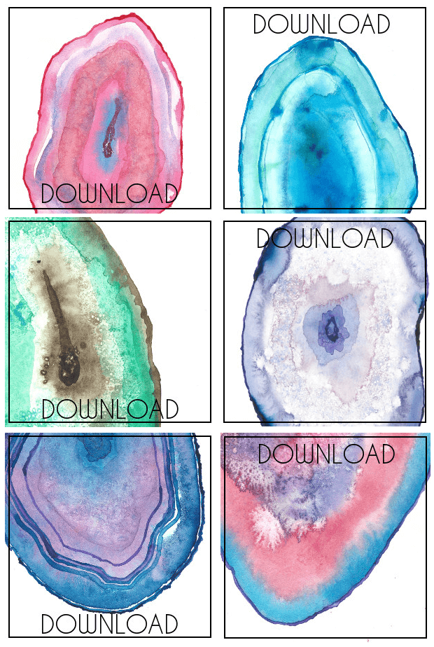 620x924 How To Paint Watercolor Agate Slices