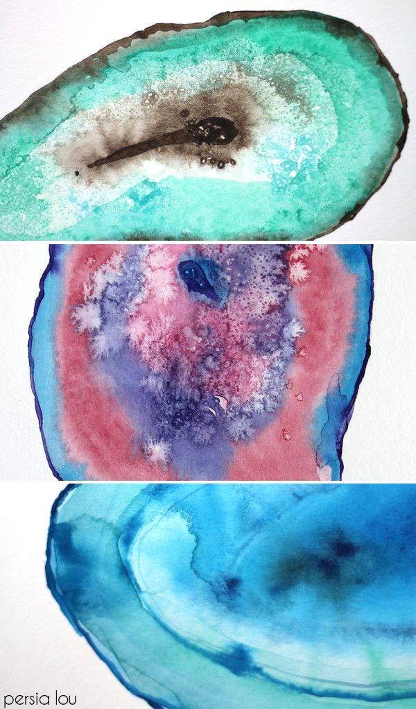 600x1022 How To Paint Watercolor Agate Slices Diy Home Decor