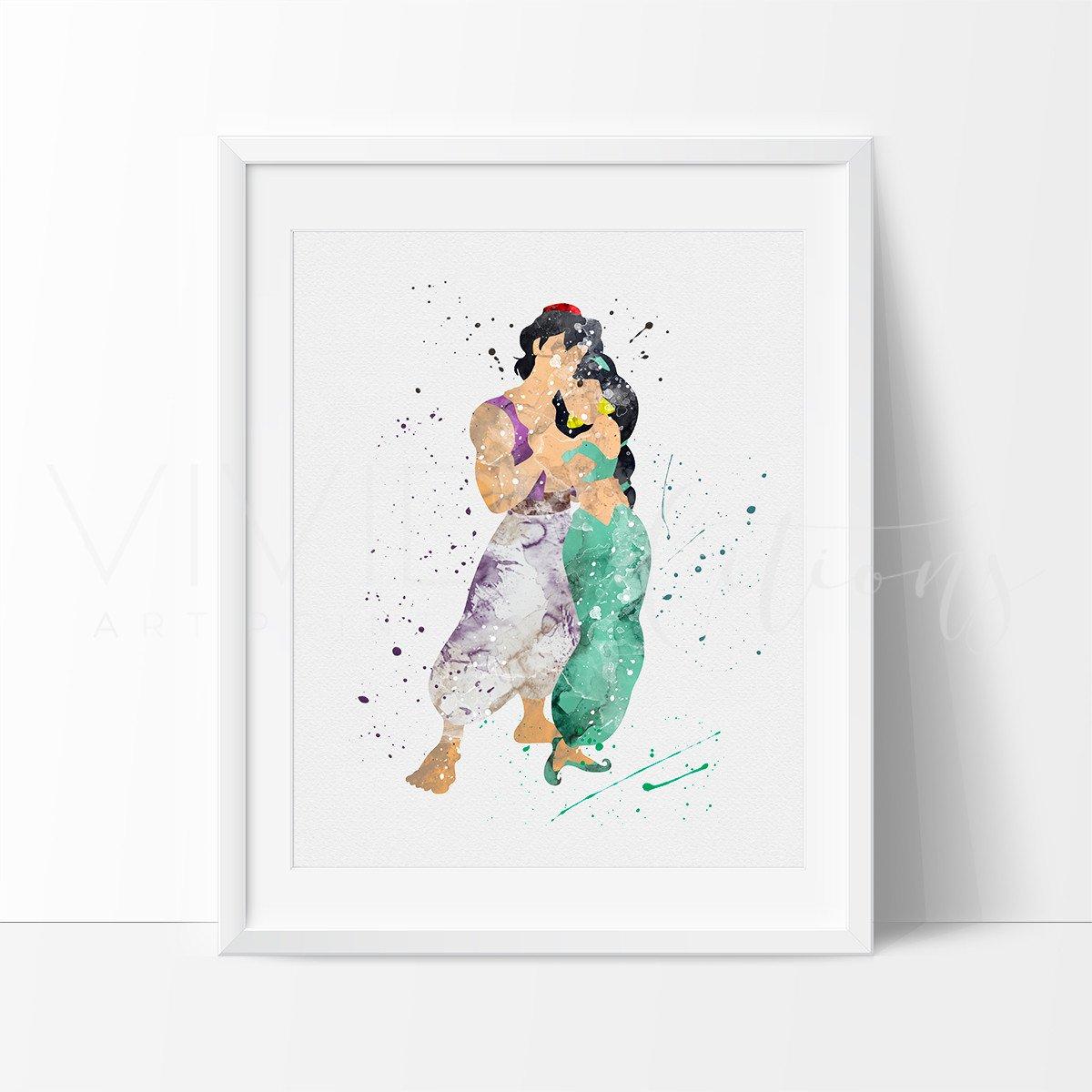 1200x1200 Aladdin And Princess Jasmine Disney Nursery Art Print Wall Decor