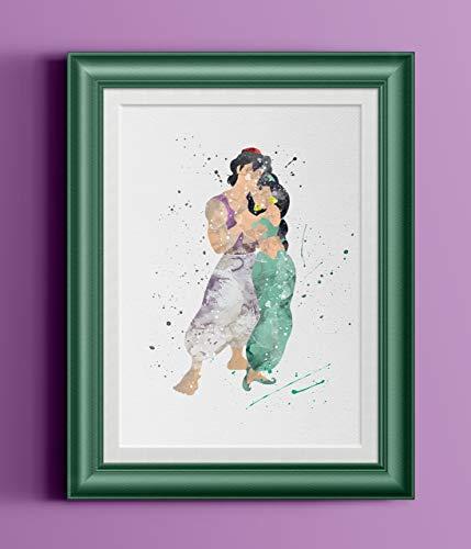 429x500 Aladdin Jasmine Watercolor Home Print Handmade