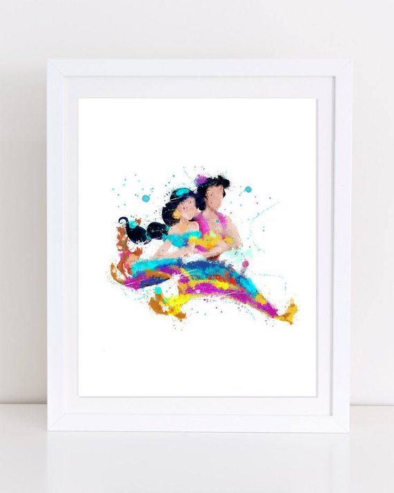 570x713 70% Aladdin Watercolor Poster Disney Poster Disney Watercolor Etsy