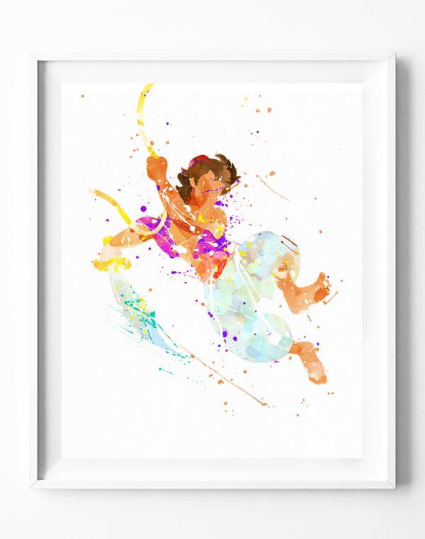 600x761 Disney Aladdin Art Print Poster Watercolor Painting Wall Art Home
