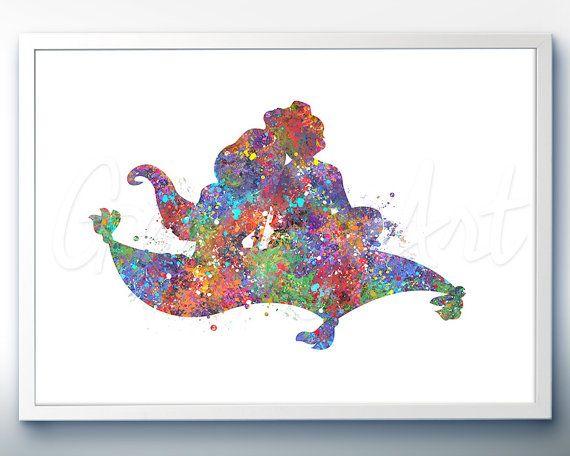 570x456 Disney Aladdin And Jasmine Watercolor Art Poster By Genefyart