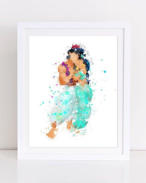 570x713 Disney Watercolor Aladdin Print Aladdin Watercolor