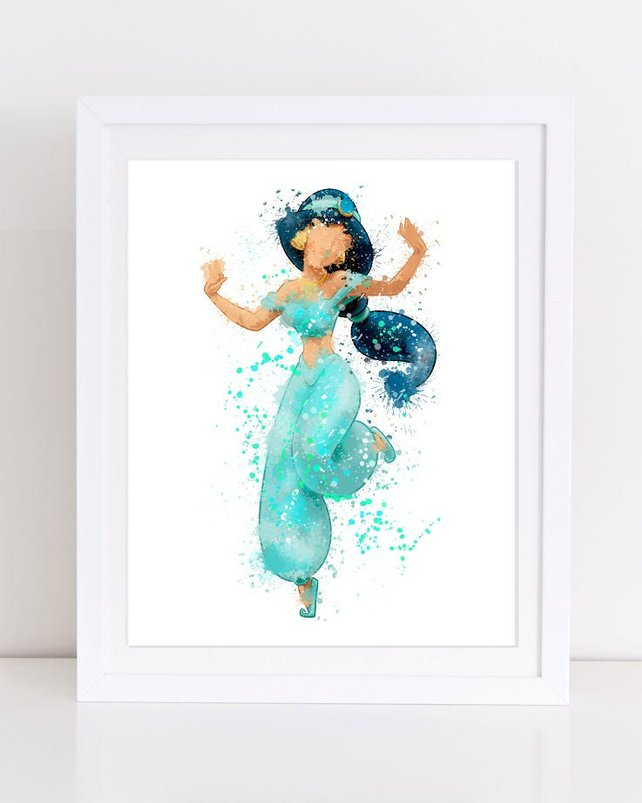642x803 Disney Watercolor Watercolor Disney Jasmine Print Aladdin Etsy