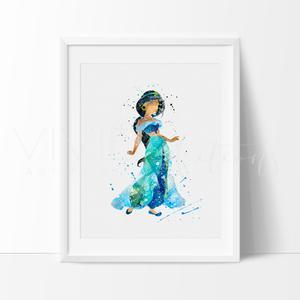 300x300 Amazing Princess Jasmine Aladdin Watercolor Playroomnursery Art