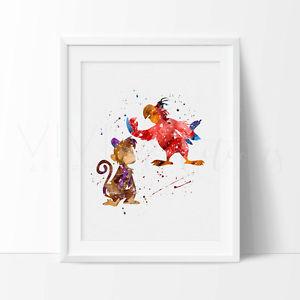 300x300 Abu Amp Iago Aladdin Watercolor Nursery Art Print, Kids Decor, Wall