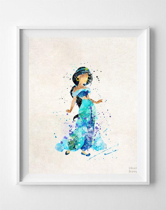 570x720 Aladdin Print, Aladdin Watercolor, Jasmine, Disney Poster, Office