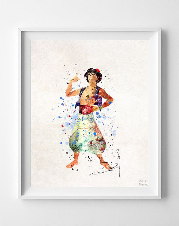 570x720 Aladdin Print, Aladdin Watercolor Art, Gift For Her Idea, Disney