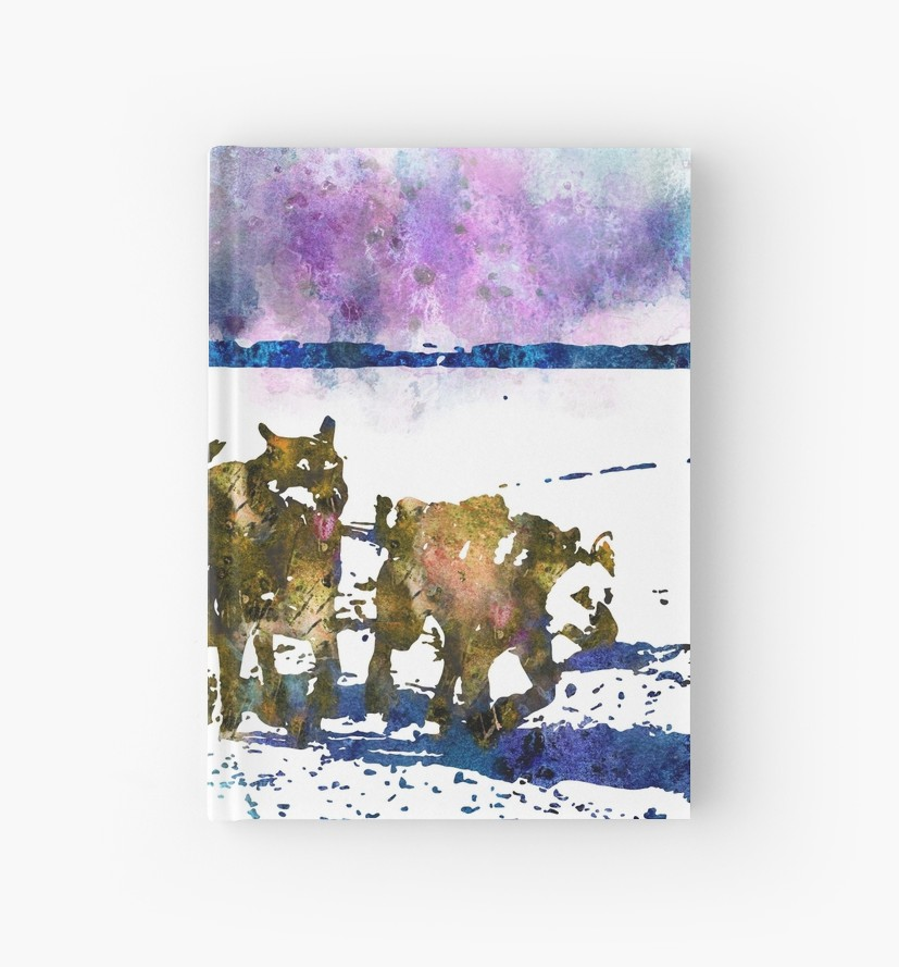 827x889 A Sled Dog Team, Alaska, Watercolor Alaska, Watercolor Sled Dog