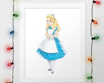 340x270 White Rabbit Watercolor Print White Rabbit Poster Alice