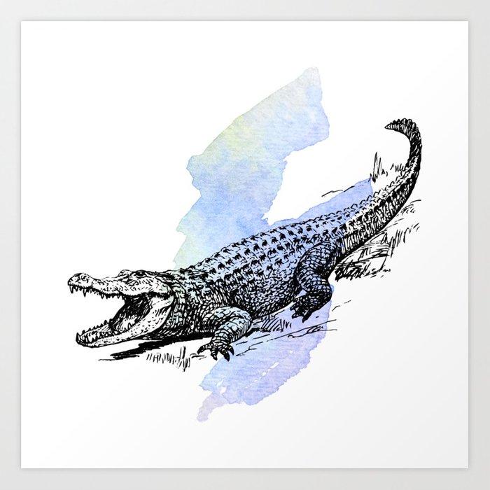 700x700 Florida Alligator On Purple Blue Green Watercolor Art Print By