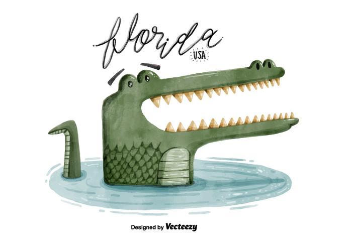 700x490 Free Florida Alligator Watercolor Vector