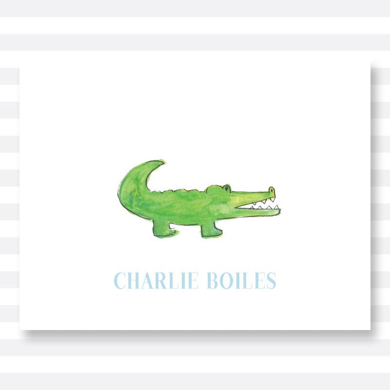 800x800 Watercolor Alligator Folded Notecard