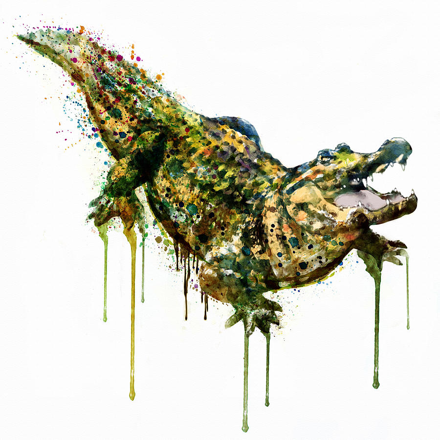 900x900 Alligator Watercolor Painting Painting By Marian Voicu