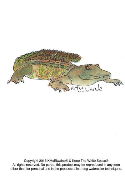 400x589 Alligator Watercolor Pattern Kathleen Mcelwaine Art
