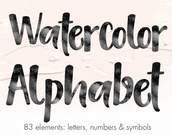 570x447 Buy 3 Pay For 2 Watercolor Alphabet Clipart Black Watercolor Etsy