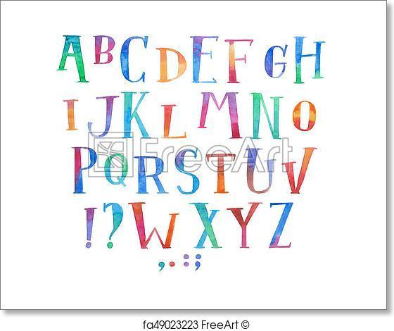 560x470 Free Art Print Of Colorful Watercolor Aquarelle Font Type