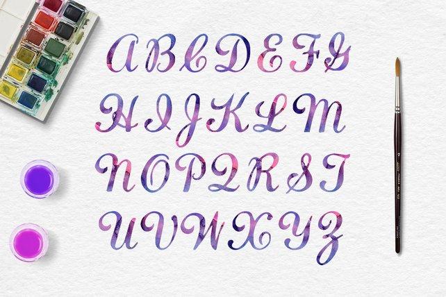 642x428 Galaxy Watercolor Alphabet Watercolor Letters Galaxy Digital Etsy