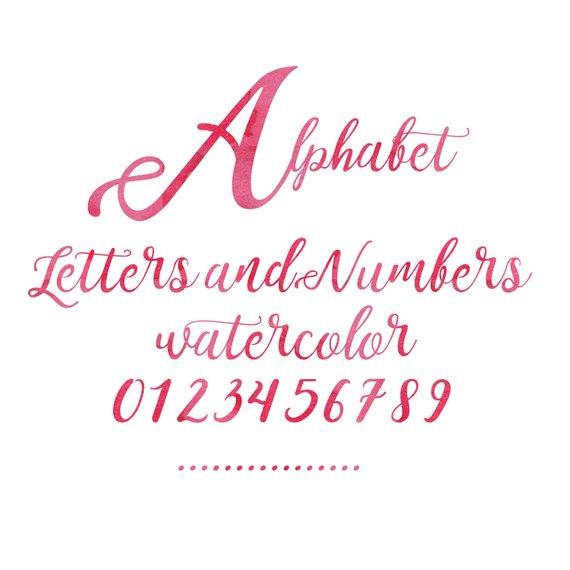 570x570 Pink Watercolor Alphabet Pink Alphabet Watercolor Letters Etsy