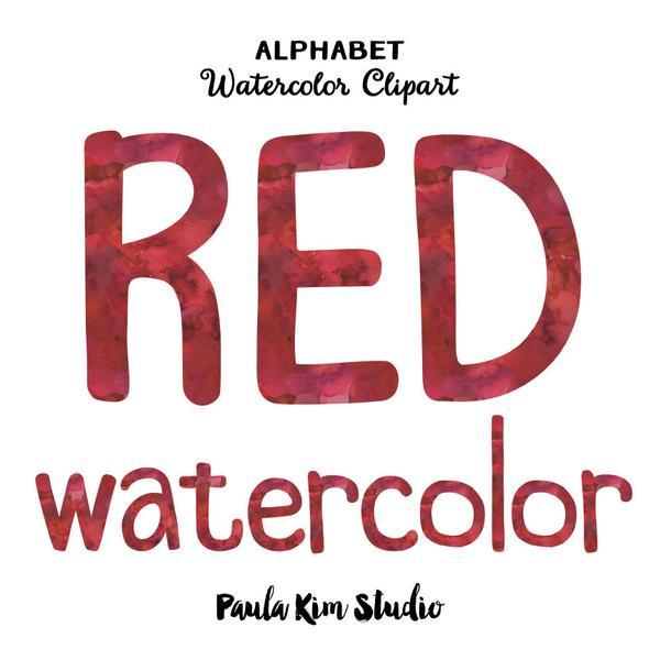 600x600 Red Watercolor Alphabet Paula Kim Studio