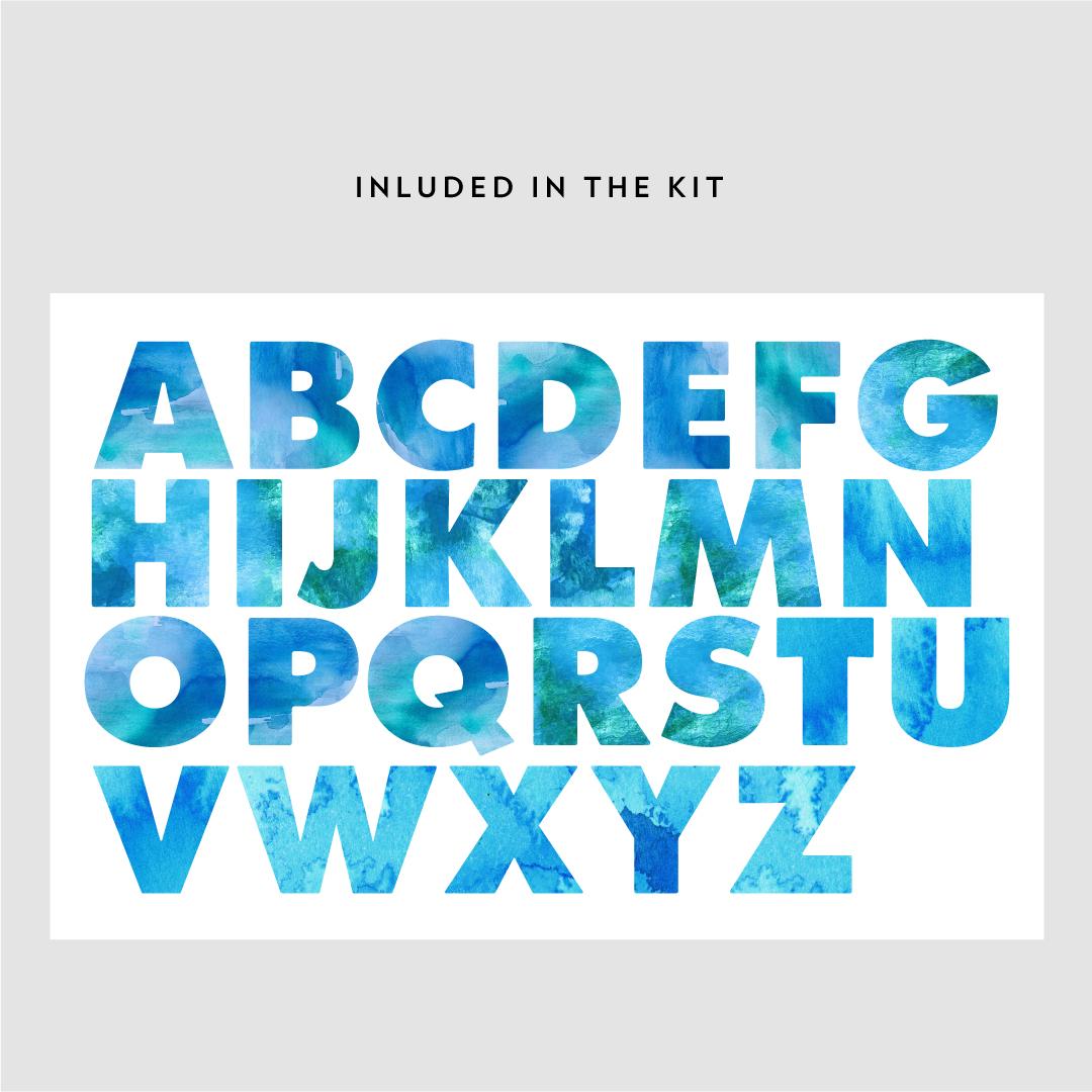 1080x1080 Watercolor Alphabet
