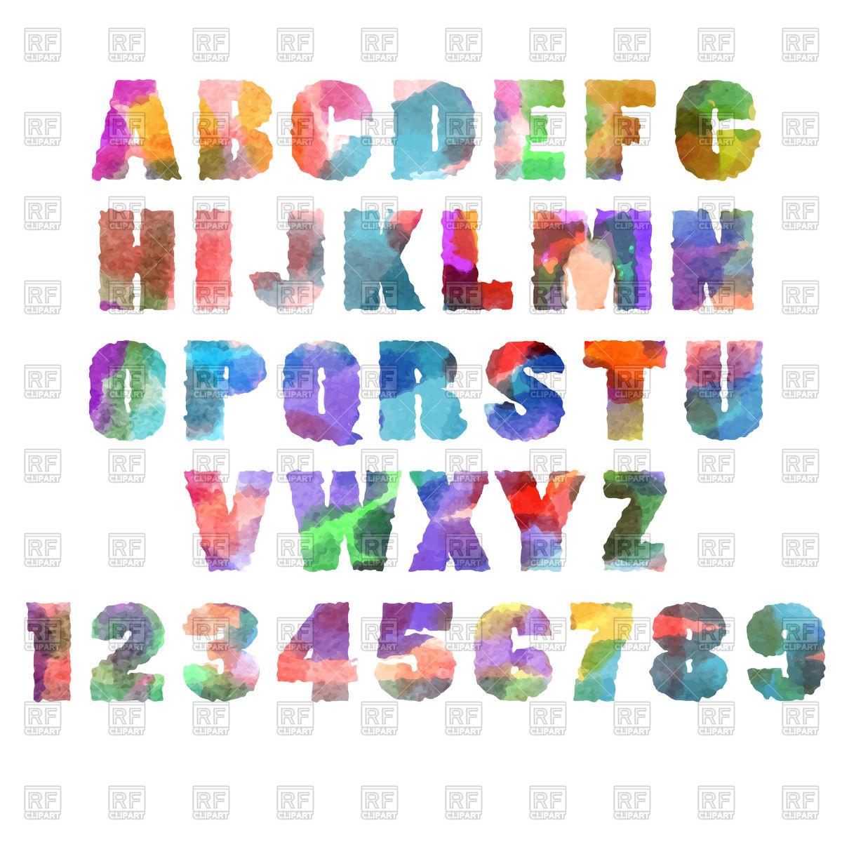 1200x1200 Alphabet (Font) Letters With Watercolor Or Aquarelle Texture