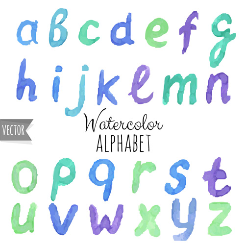 500x500 Watercolor Alphabet Letter With Numebrs Vector 08 Free Download