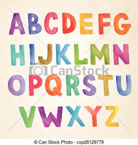 450x470 Watercolor Colorful Vector Handwritten Alphabet. Watercolor Hand