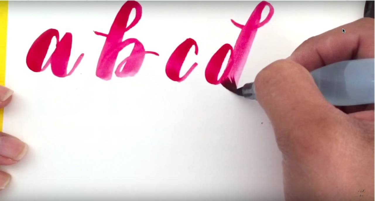 1281x687 Writing A Modern Calligraphy Alphabet With A Water Brush Pen And