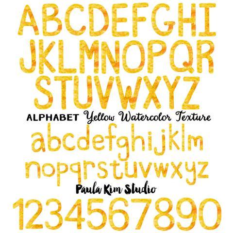 480x480 Yellow Watercolor Alphabet Paula Kim Studio