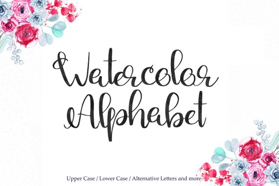 570x380 Black Watercolor Alphabet Clipart Alternative Letters Black Etsy