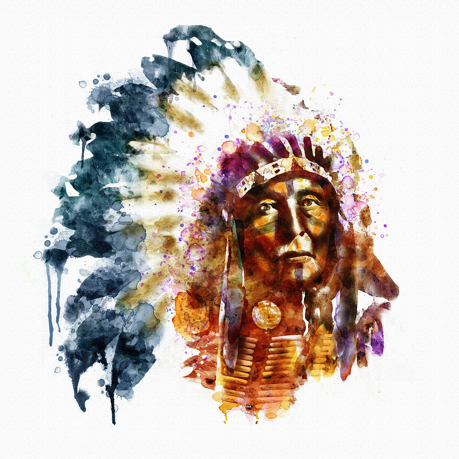 900x900 Native American Chief Painting By Marian Voicu