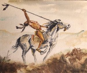 300x252 Native American Indian Watercolor Painting Artist Signed Unframed