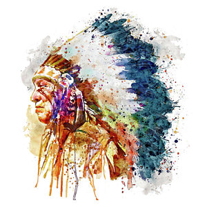 300x300 Native American Watercolor Art Fine Art America