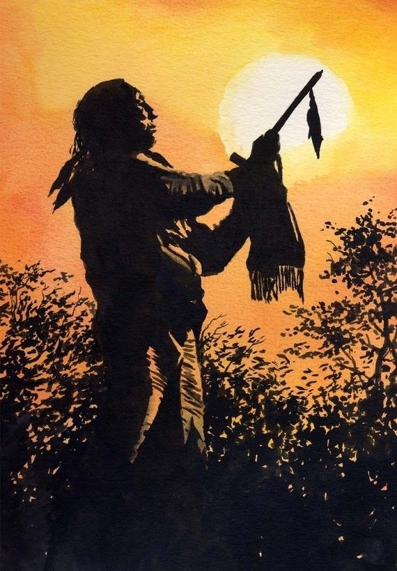 570x819 Sunset Prayer Native American Indian Watercolor Painting Art Print