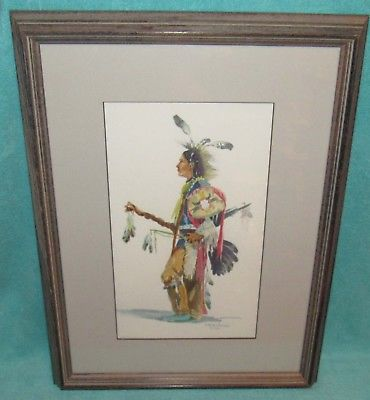 370x400 Vintage Native American Indian Watercolor Painting Signed Amp Framed