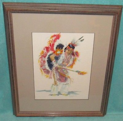 400x394 Vintage Original Watercolor Native American Indian Drawing