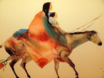 400x300 Carol Grigg American Indian Horse Watercolor Lithograph (0504