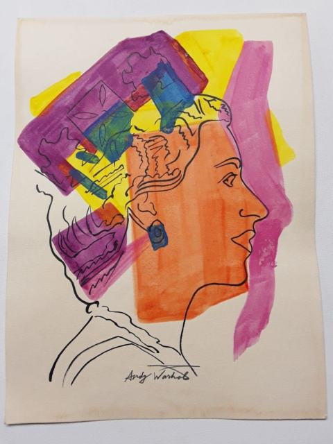 480x640 Andy Warhol,ink And Color Ink Drawing,painting On Paper,pop Art