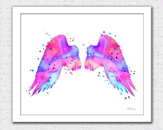 570x456 Pink Angel Wings Print Angel Wings Watercolor Pink Purple Etsy