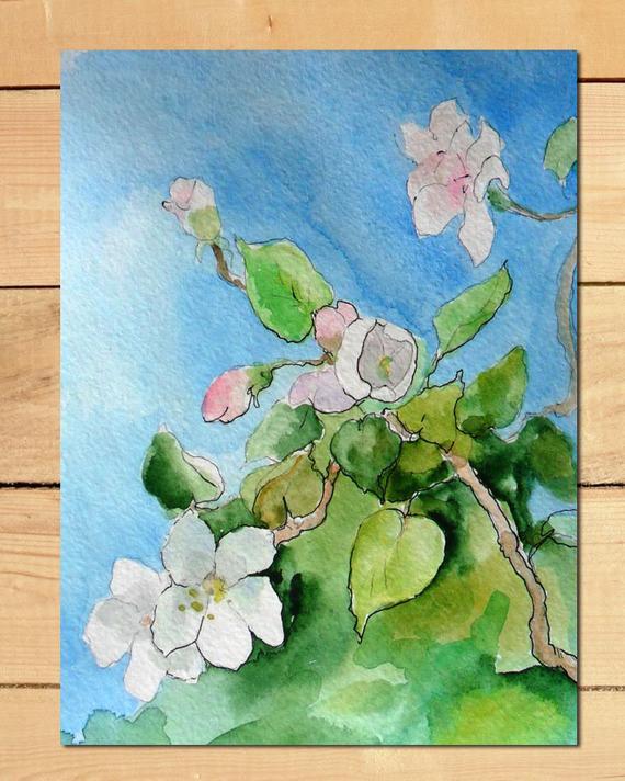 570x712 Apple Blossom Original Painting Cherry Blossom Watercolor Etsy