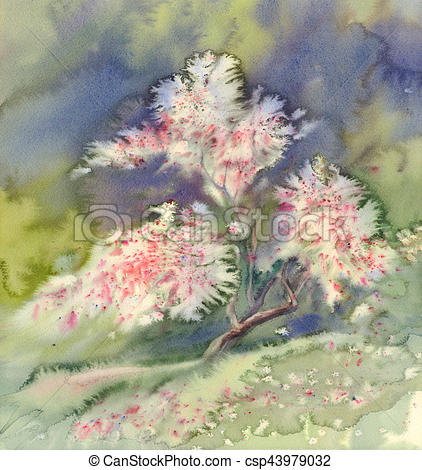 422x470 Blooming Apple Tree Watercolor. The Apple Tree Pink Blooming Hand