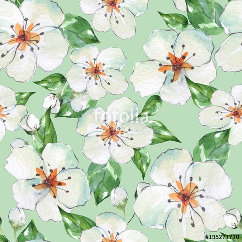 500x500 Floral Seamless Pattern 4. Blooming Apple Tree. Watercolor