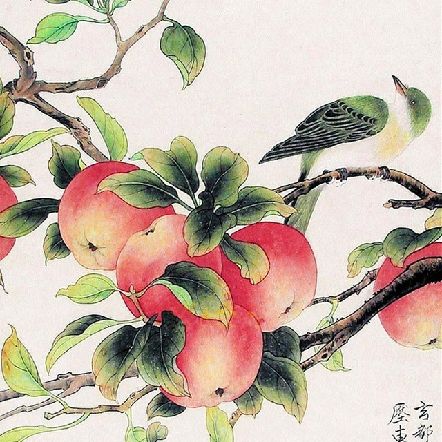 640x640 Online Shop Chinese Silk Ink Watercolor Flower And Birds Oriole