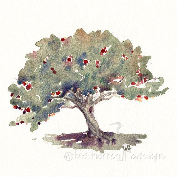 570x570 Red Apple Tree Food Art Watercolor Print Art Inspiration