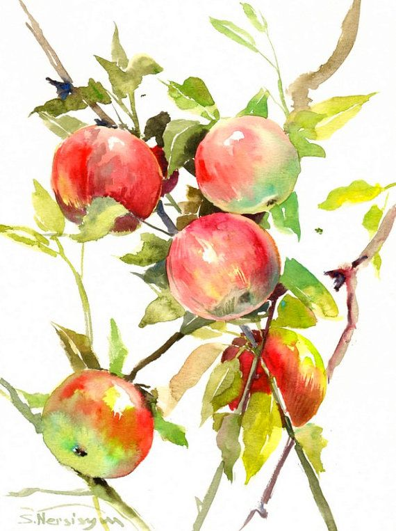 570x763 Red Green Apple Tree, Original Watercolor Painting, 12 X 9 In