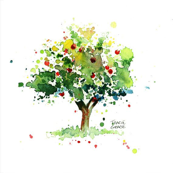 570x570 Apple Tree Watercolor Painting By Traciegraceriesgo On Etsy