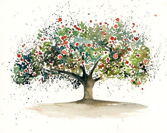570x453 Apple Tree Watercolor Painting Maybe Hearts Instead Of Apples